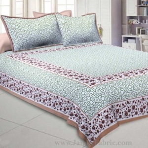 Green Brown Magical Geometry King Size Double Bedsheet