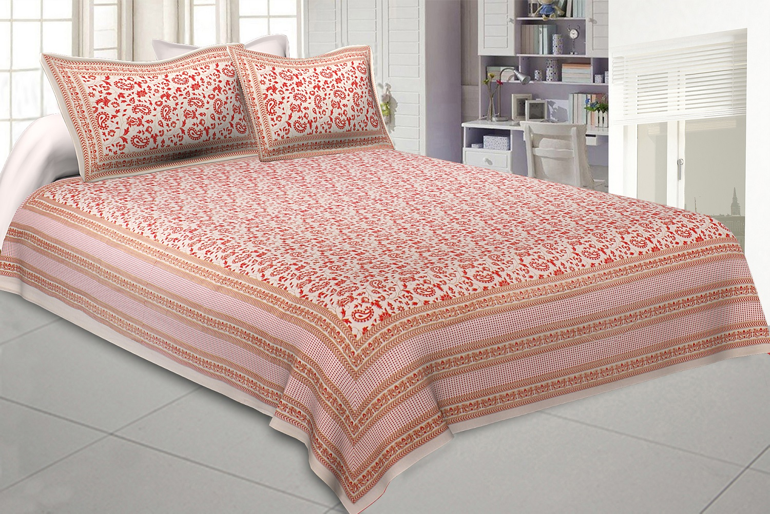 Ethnic Gold Pink Floral Double Bedsheet
