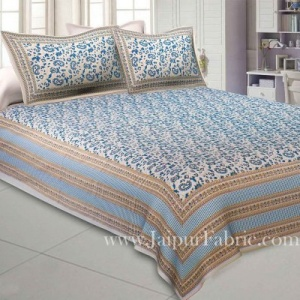 Ethnic Gold Royal Blue Floral Double Bedsheet