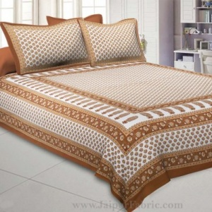 Brown Boota Gold Work Double Bedsheet