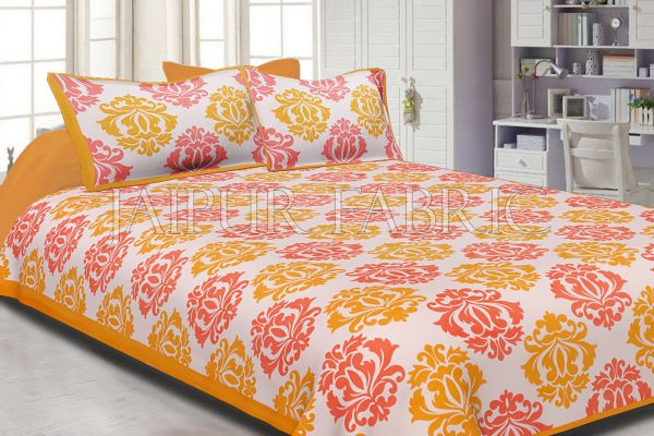 Yellow Border Floral Pattern Screen Print Cotton Double Bed Sheet