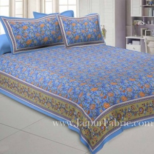 Blooming Blue Floral Double Bedsheet