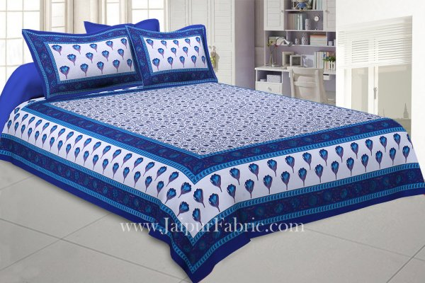 Double Bedsheet Blue Tulip With Two Pillow Cover