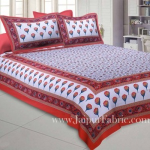 Double Bedsheet Pink Tulip With Two Pillow Cover