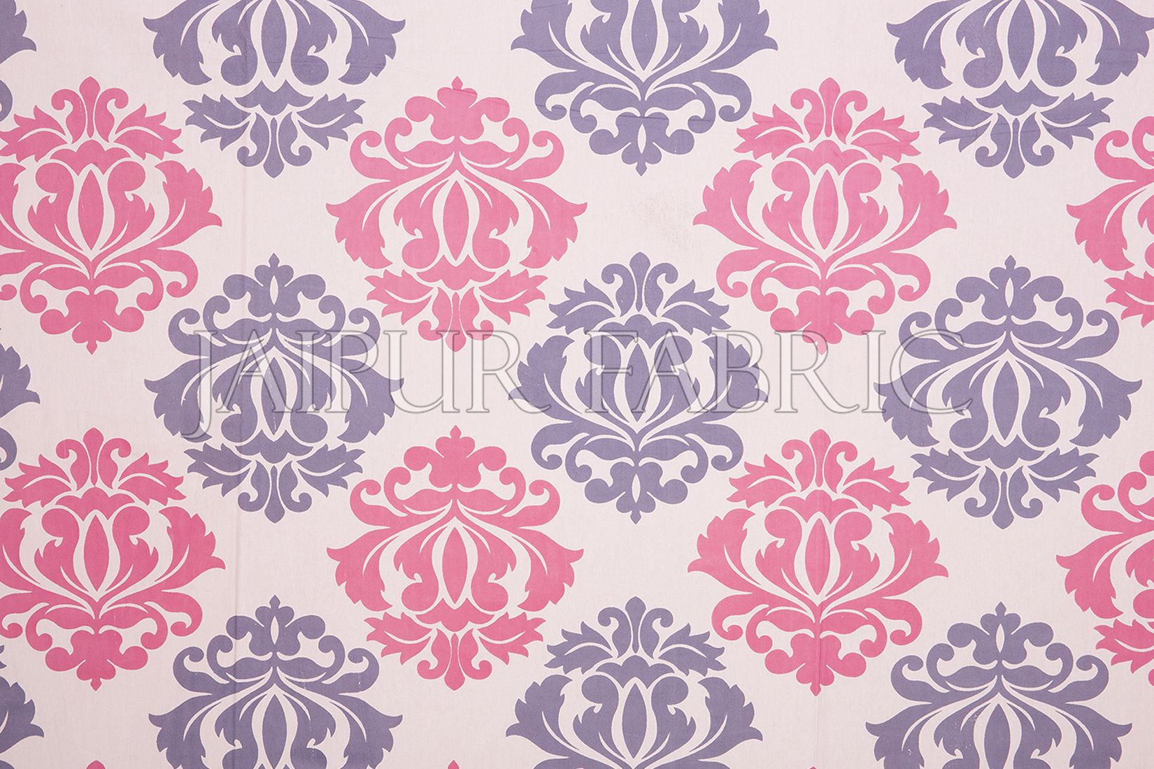 Pink Border Floral Pattern Screen Print Cotton Double Bed Sheet