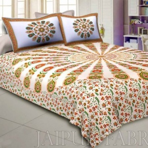 Mandala Orange Green Khari Gold Print Double Bedsheet with 2 Pillow Covers