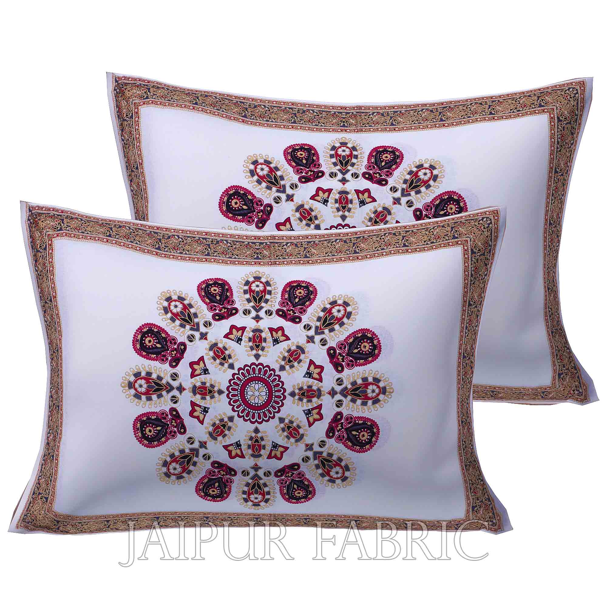 Mandala Maroon Grey Khari Gold Print Double Bedsheet with 2 Pillow Covers