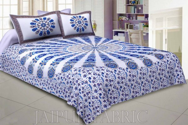 Mandala Blue White Khari Gold Print Double Bedsheet with 2 Pillow Covers