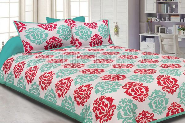 Sea Green Border Floral Pattern Screen Print Cotton Double Bed Sheet