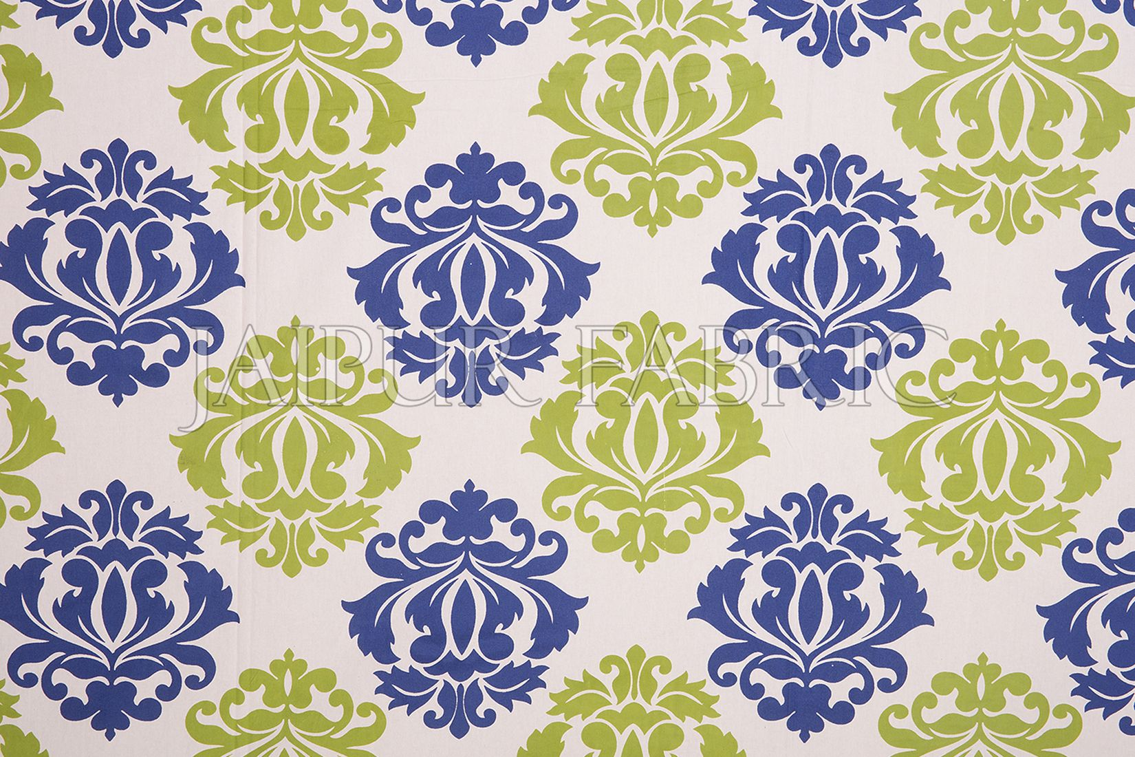 Blue Border Floral Pattern Screen Print Cotton Double Bed Sheet