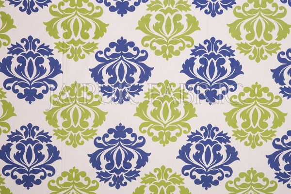 Blue Border Floral Pattern Screen Print Cotton Double Bed
