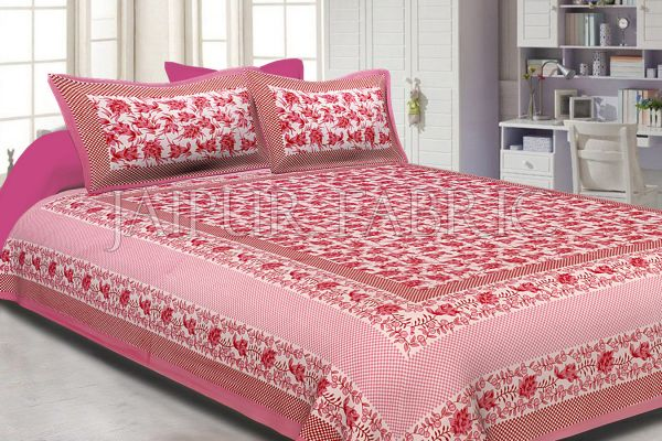 Pink Border Flower Pattern Screen Print Cotton Double Bed Sheet