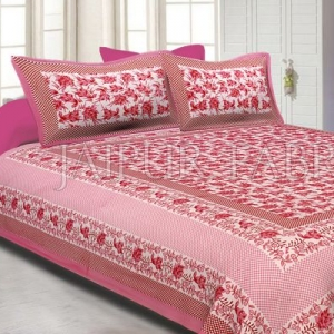 Pink Border Flower Pattern Screen Print Cotton Double Bed Sheet