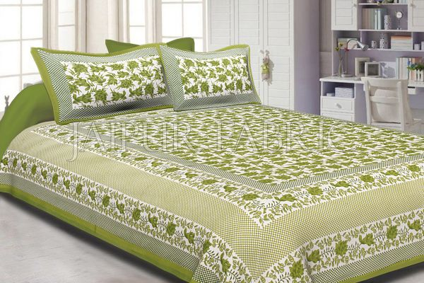 Green Border Flower Pattern Screen Print Cotton Double Bed Sheet