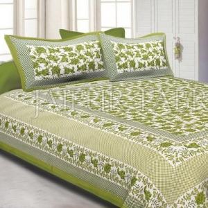 Green Border Flower Pattern Screen Print Cotton Double Bed Sheet