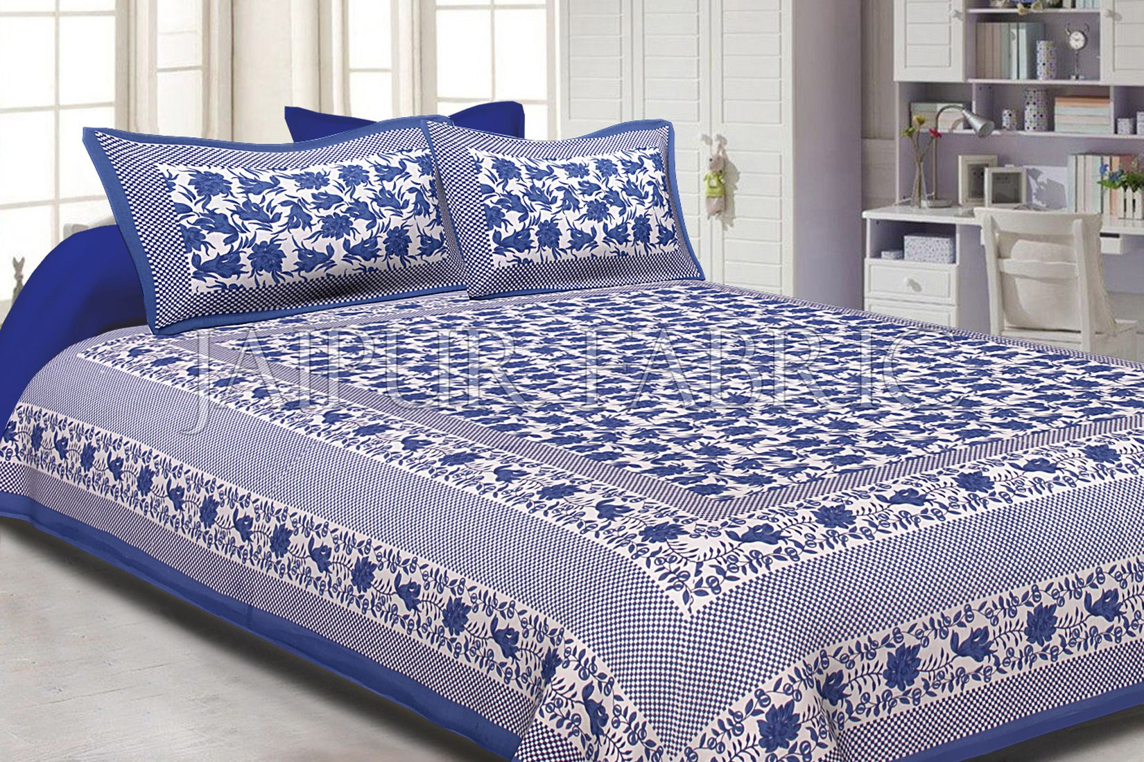 Blue Border Flower Pattern Screen Print Cotton Double Bed Sheet