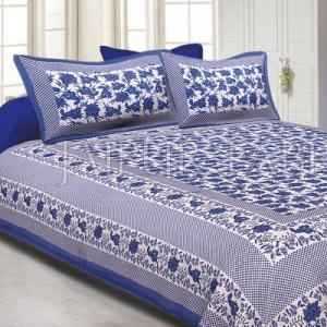 Blue Border Flower Pattern Screen Print Cotton Double Bed Sheet