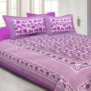 Purple Border Flower Pattern Screen Print Cotton Double Bed Sheet