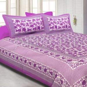 Purple Border Flower Pattern Screen Print Cotton Double Bed Sheet