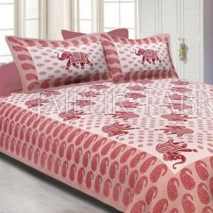 Brown Border White Base Elephant Pattern Screen Print Cotton Double Bed Sheet