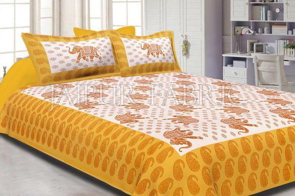 Yellow Border White Base Elephant Pattern Screen Print Cotton Double Bed  Sheet