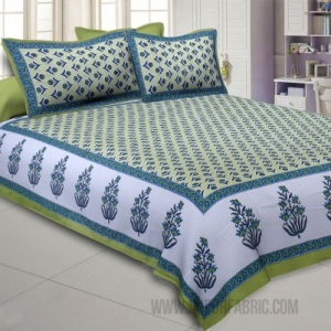 Pleasant Pedicel Green Double Bedsheet