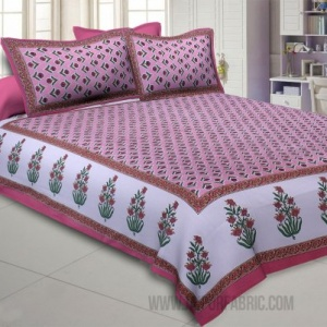 Pleasant Pedicel Pink Double Bedsheet