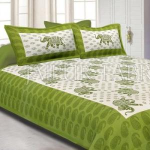 Green Border White Base Elephant Pattern Screen Print Cotton Double Bed Sheet