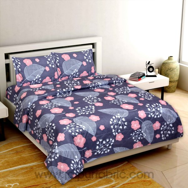 Purple Leaf Super-soft Double bedsheet With 2 Pillow Cover