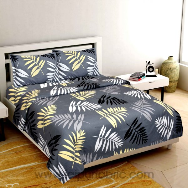 Leaf Design Bedsheet Dark Printed Colour with 2 Pillow Cover