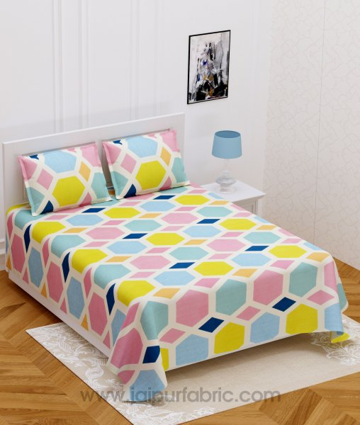Triangle Design Cream Super-soft Double bedsheet