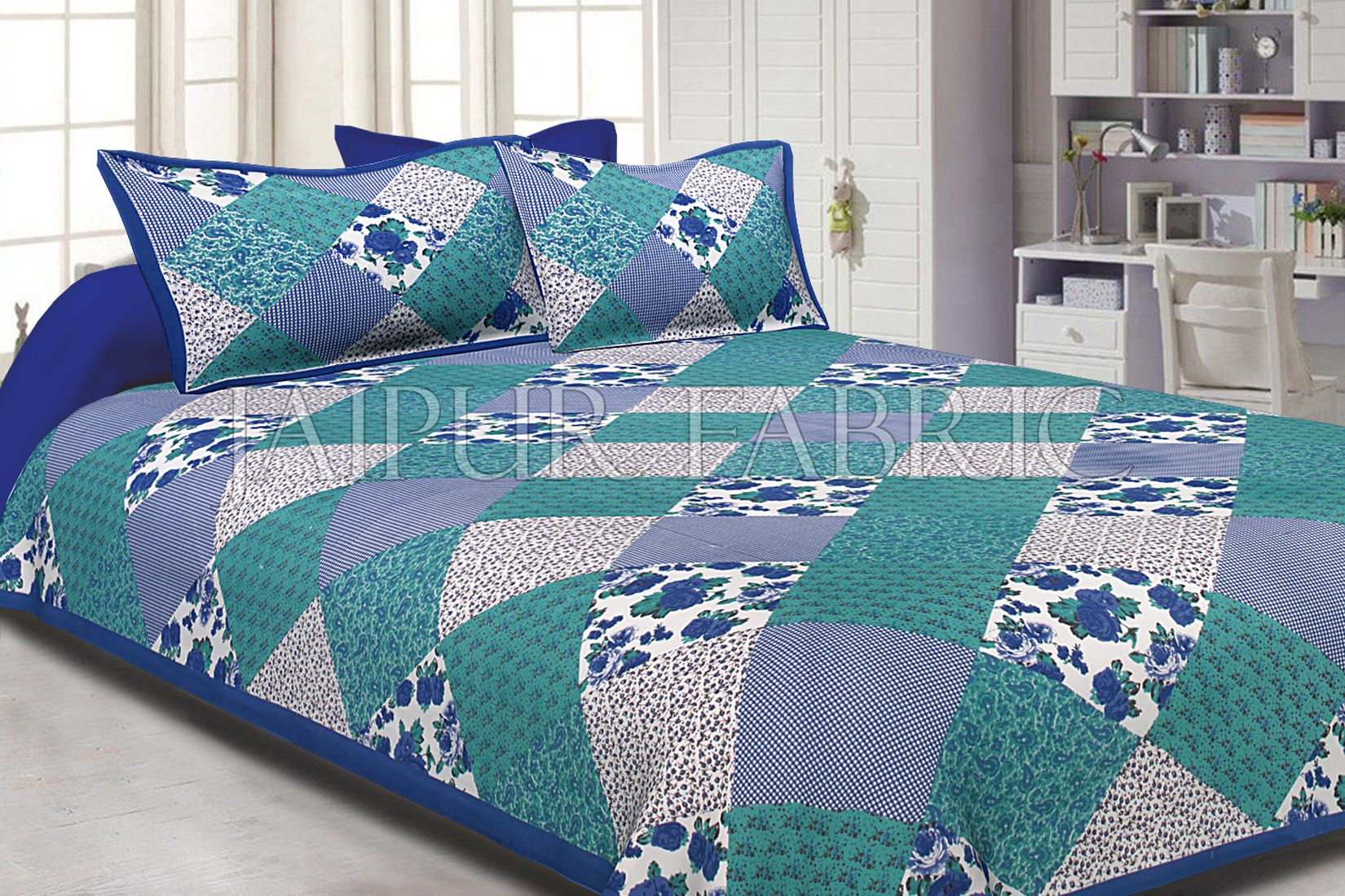 Blue Border Multicolor Base Flower Screen Print Cotton Double Bed Sheet