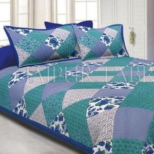 Blue Border Multicolor Base Flower Screen Print Cotton Double Bed Sheet