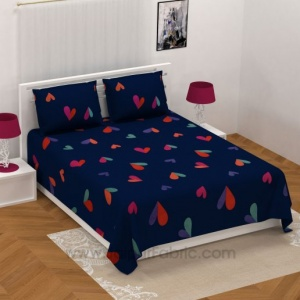 Navy Blue Shade with Multicolored Hearts Design Double Bedsheet