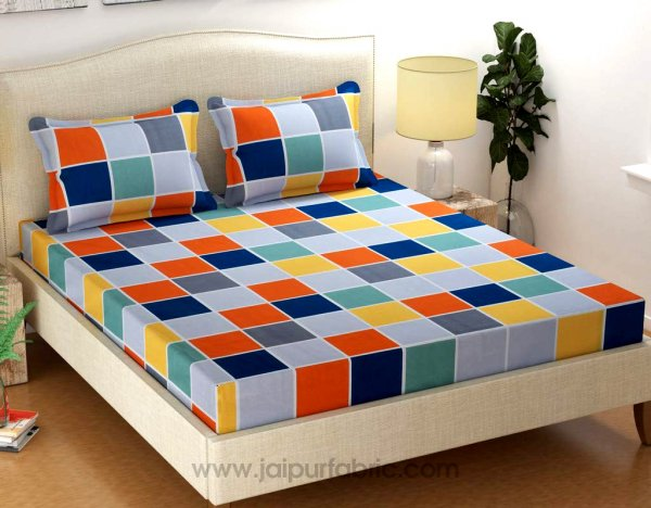Grey Base Checks Super-soft Double Bedsheet