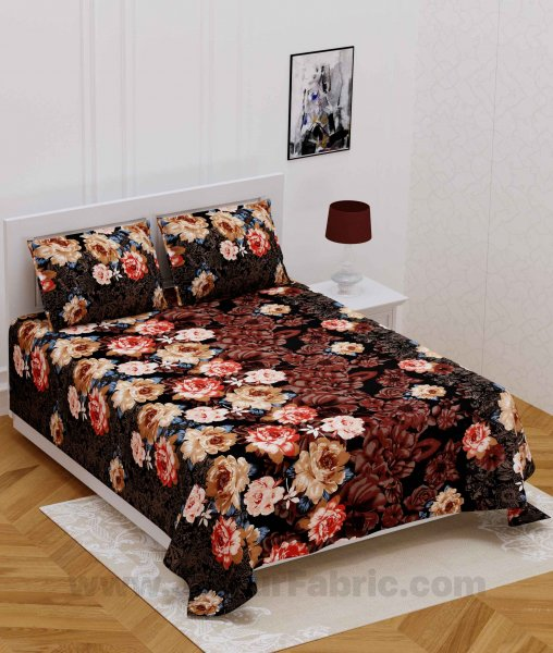 Love Rose Floral Super Soft Double Bedsheet