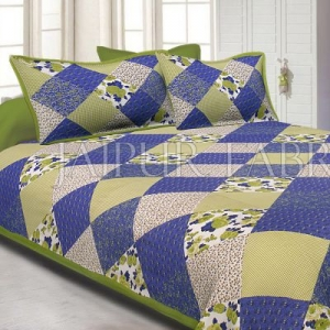 Green Border Multicolor Base Flower Screen Print Cotton Double Bed Sheet