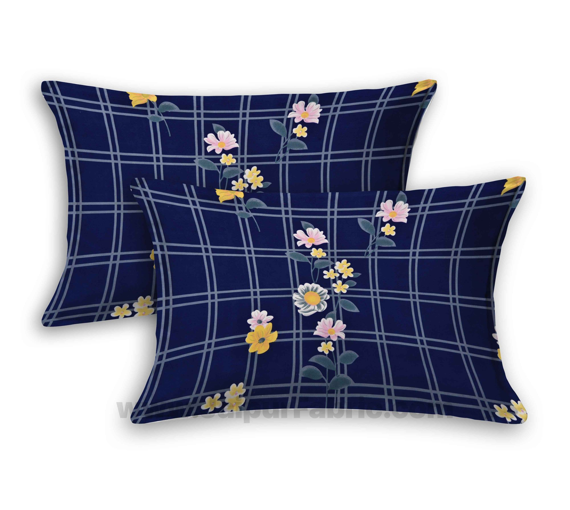 Navy Blue Sun Floral Super Soft Double Bedsheet