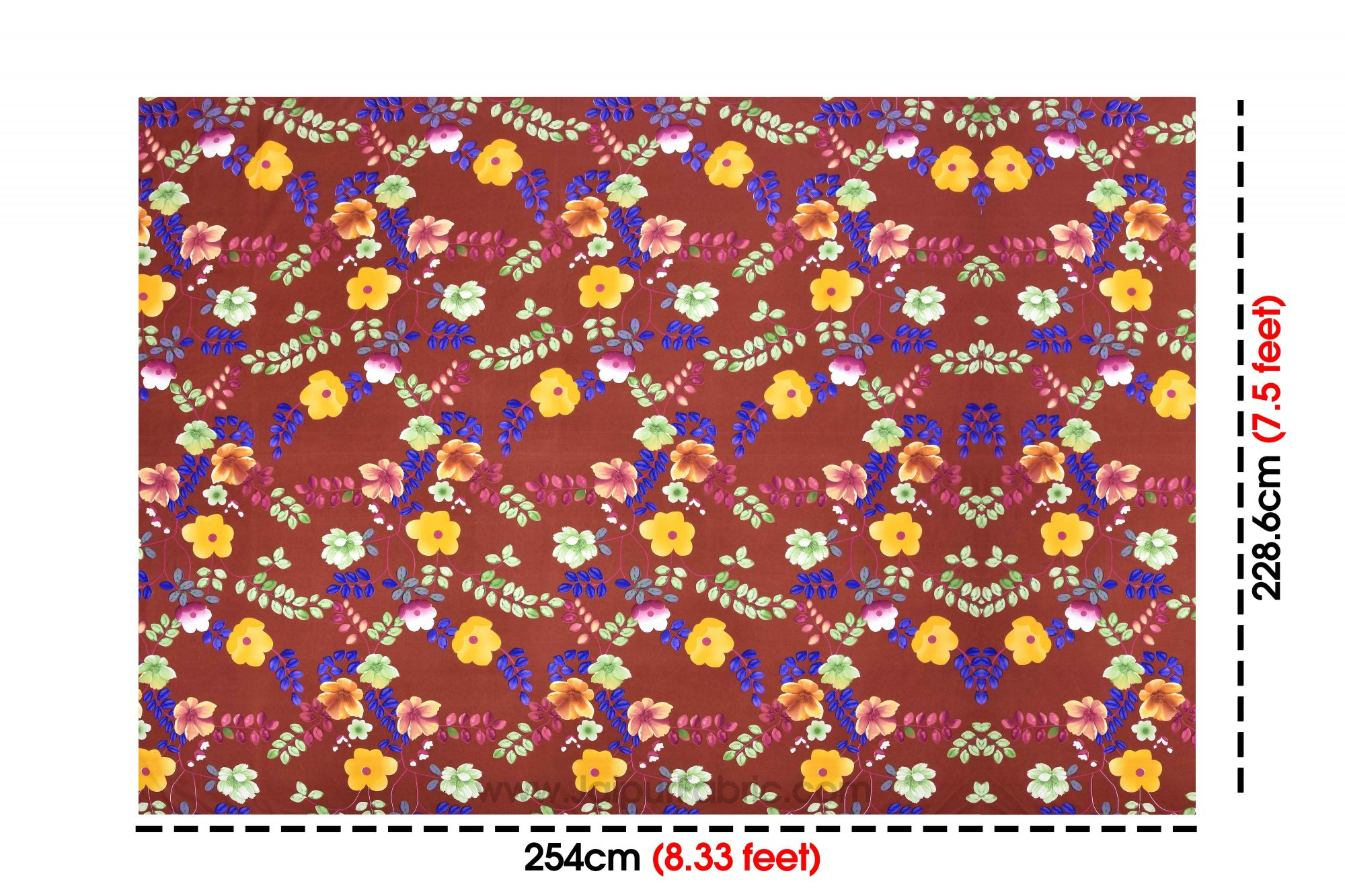 Redish Multi Floral Super Soft Double Bedsheet