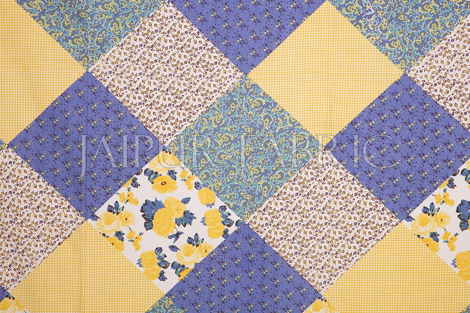Yellow Border Multicolor Base Flower Screen Print Cotton Double Bed Sheet