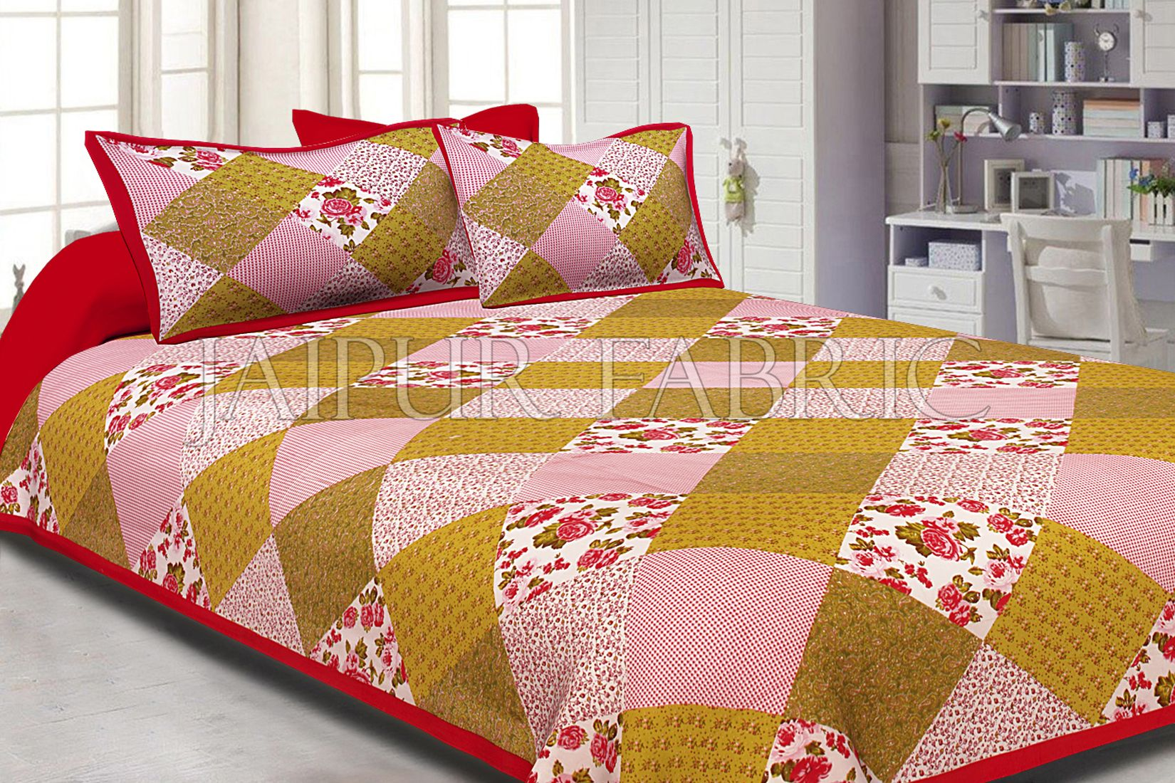 Maron Border Multicolor Base Flower Screen Print Cotton Double Bed Sheet