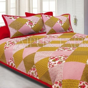 Maron Border Multicolor Base Flower Screen Print Cotton Double Bed Sheet