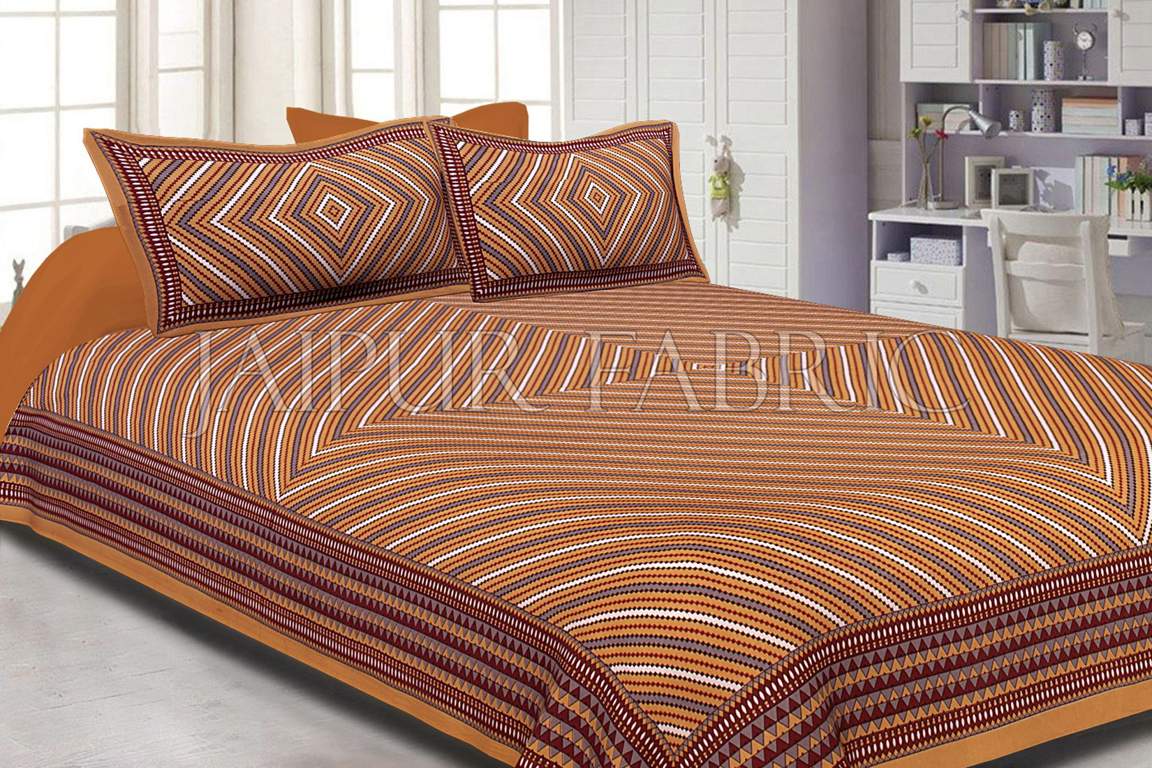 Brown Border Square and line Pattern Screen Print Cotton Double Bed Sheet