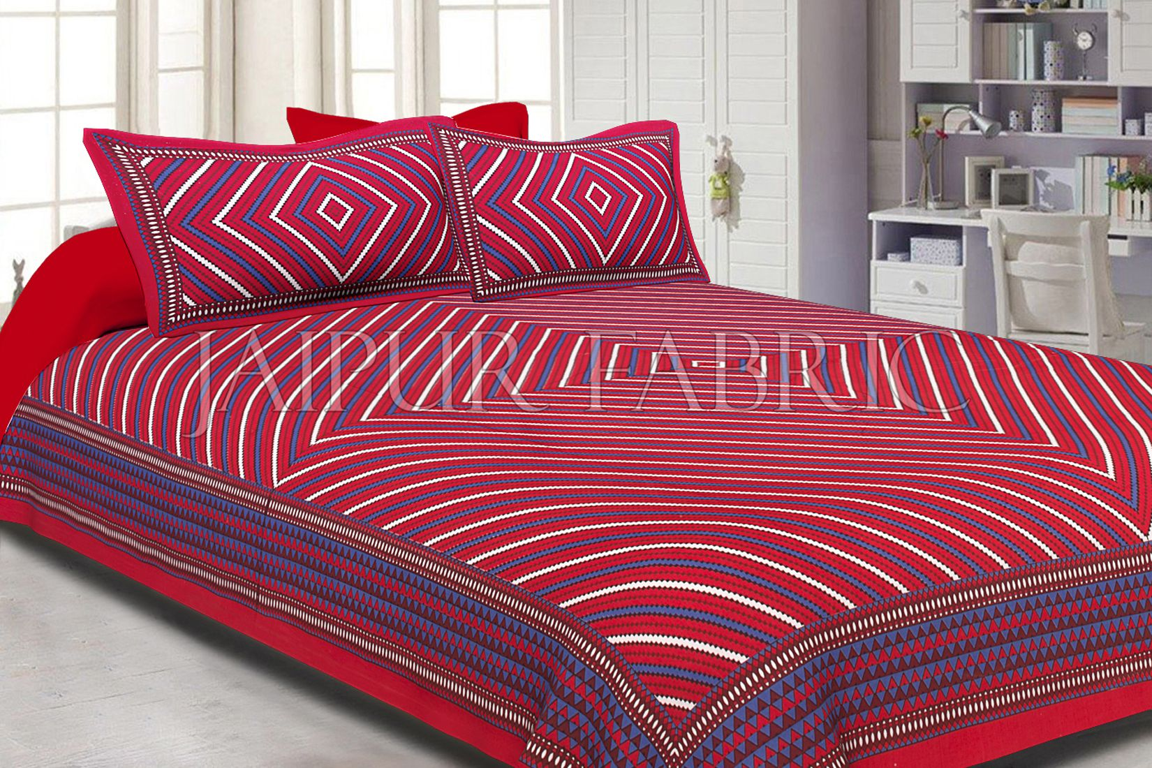 Maroon Border Square and line Pattern Screen Print Cotton Double Bed Sheet