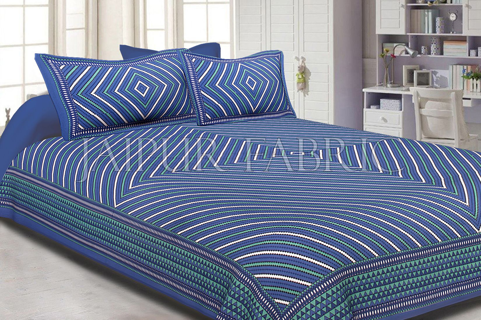 Blue Border White Square and line Pattern Screen Print Cotton Double Bed Sheet