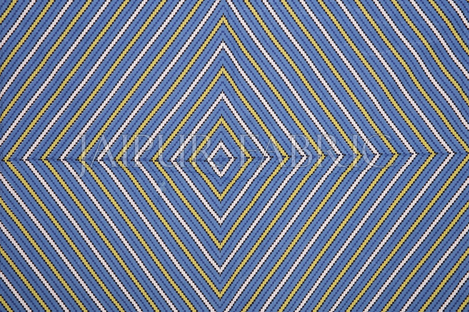 Blue Border Yellow Square and line Pattern Screen Print Cotton Double Bed Sheet