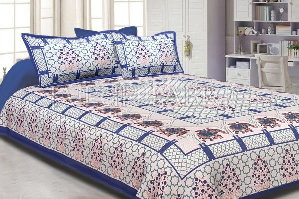 Blue Border White base Elephant Pattern Screen Print Cotton Double Bed Sheet