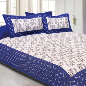 Blue Border Black Elephant Pattern Screen Print Cotton Double Bed Sheet
