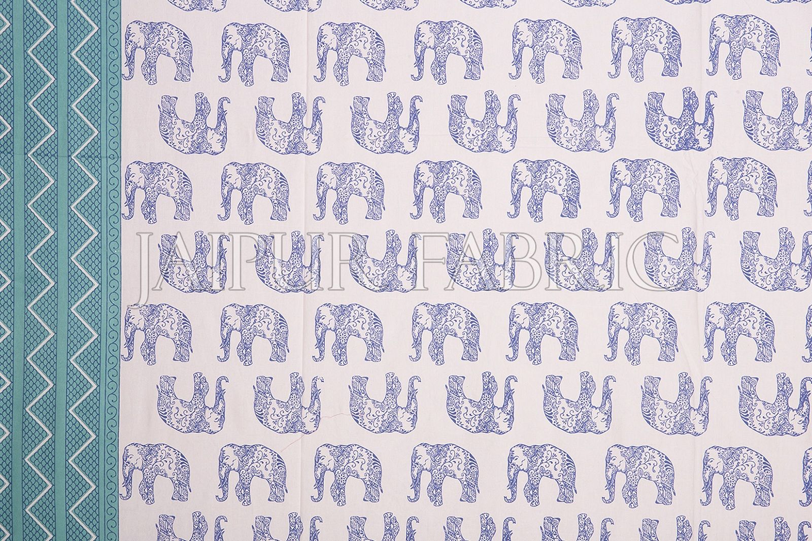 Sea Green Border Blue Elephant Pattern Screen Print Cotton Double Bed Sheet