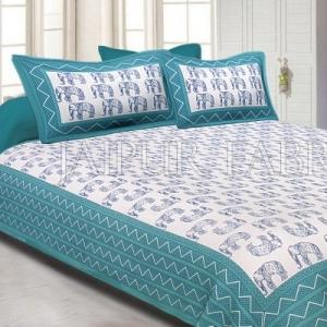 Sea Green Border Blue Elephant Pattern Screen Print Cotton Double Bed Sheet